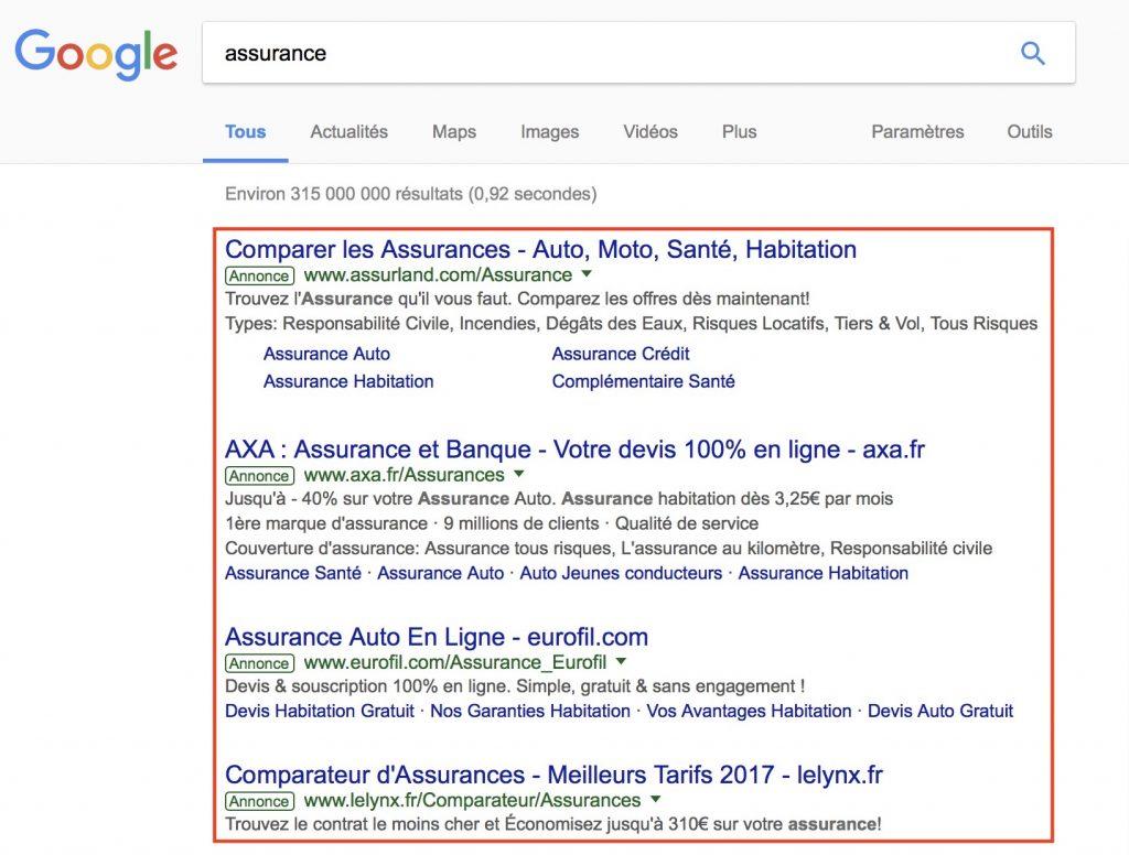 Annonces dans les résultats des moteurs de recherche