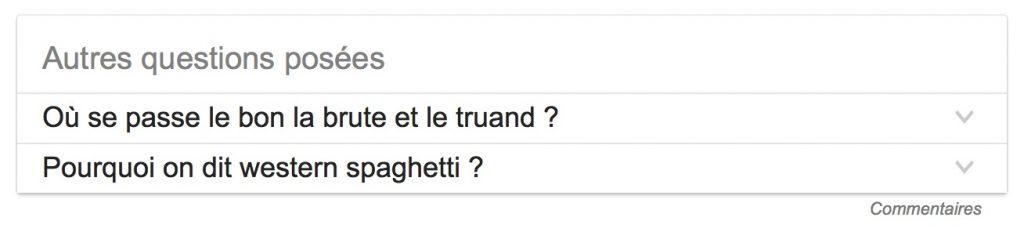 Autres questions dans la SERP Google