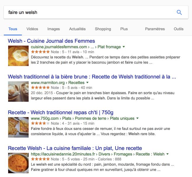 Requête sur Google - faire un welsh