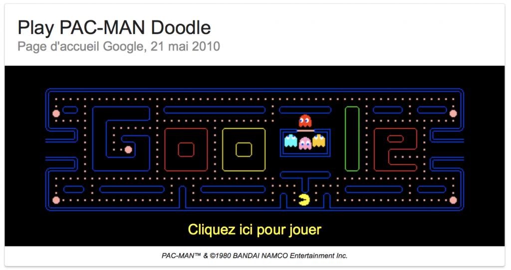 Jouer à Pacman sur Google