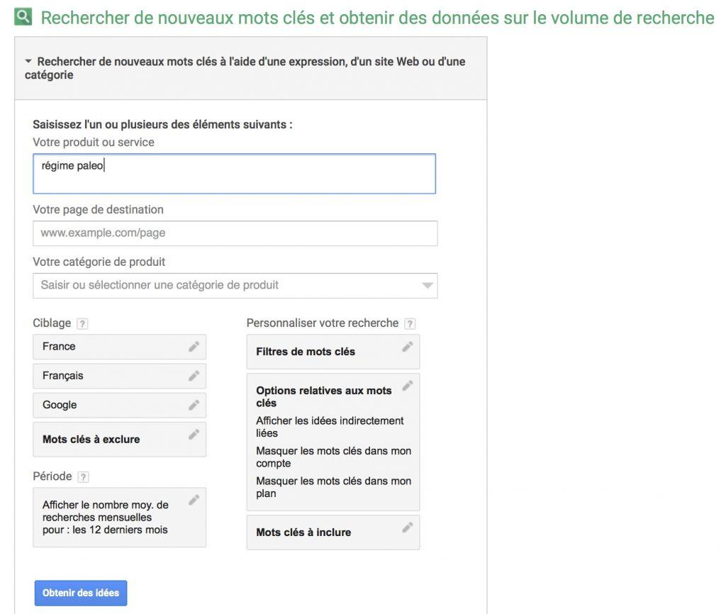 Outil de planification de mots-clés de Google
