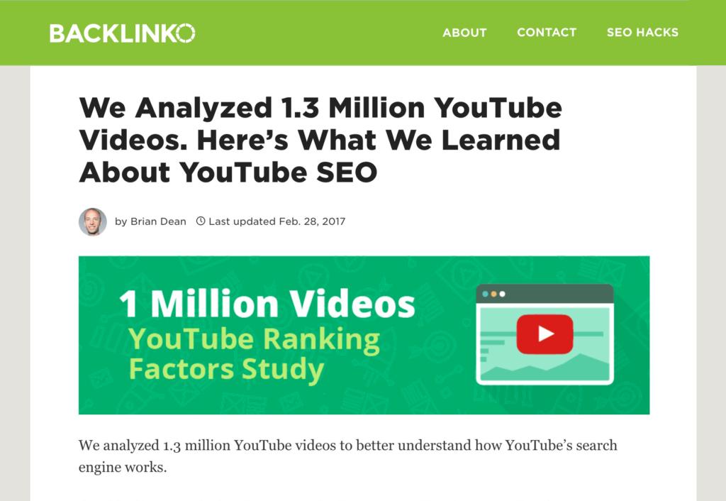 Les facteurs de classement sur YouTube
