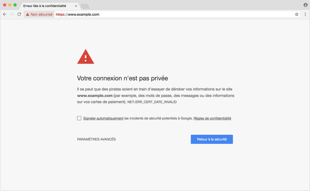 Certificat SSL expiré, erreur de connexion au site